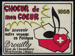 Etiquette De Vin // Brouilly, Choeur De Mon Coeur 1998,souvenir Du Voyage En Pologne - Music