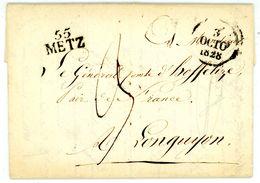 """""""55 METZ"""" 1828 Portobrief Mit Inhalt - Poststempel (Briefe)"""