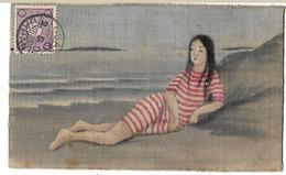 JAPON OSAKA CARTE PEINTE SUR TISSUS JEUNE FEMME A LA PLAGE 1909 CPA  2 SCANS - Osaka