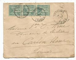 SAGE 5C BANDE DE 3 LETTRE TYPE A  SOUSTONS LANDES 1899 + BOITE C ?? - Poststempel (Briefe)