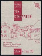 Etiquette De Vin // Luins 1992, Président Du Grand Conseil Vaudois, Raymond Bourgeois - Politica (vecchia E Nuova)