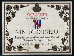 Etiquette De Vin // Salvagnin 1986, Réception Du Président Du Grand Conseil Georges Burdet - Politica (vecchia E Nuova)