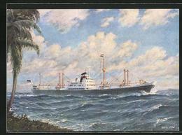 Künstler-AK Handelsschiff M.S. Welheim, Poseidon Linien Hamburg - Commercio