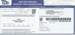 Avis De Passage - Envoi Recommandé Par TBC (concurrent De Bpost) - Documenti Della Posta