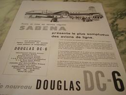 ANCIENNE PUBLICITE AVION DOUGLAS SERVICE SABENA  1947 - Advertisements