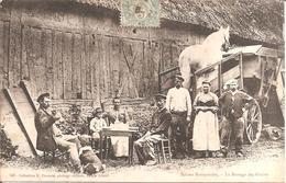 TOP CPA !!! SCENES NORMANDES - Le Battage Des Grains En 1906 (Batteuse , Trépigneuse) - Agriculture