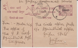 Jaipur State India  1939  1/4A  SERVICE Overprint Postcard Used Excellent Condition  #   19035  D  Inde Indien - Jaipur