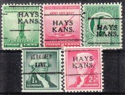 USA Precancel Vorausentwertung Preo, Locals Kansas, Hays 701, 5 Diff. - Vereinigte Staaten