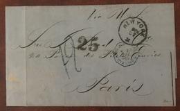 France, Lettre (LSC) De New York Pour Paris 1875, Taxe 12 Et 25, TAD Bleu ETATS-UNIS PAQ FR BREST - (B2315) - 1849-1876: Klassik