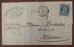 France 1858, N°14 Sur Lettre (ROCHEFORT), Griffe AFFRANCHISSEMENT INSUFFISANT, Taxe 4 Décime - (B2319) - Storia Postale