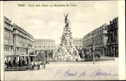 Cp Torino Turin Piemonte, Piazza Dello Statuo Col Monumento Del Frejus - Italia