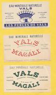 VALS LES BAINS LOT 3 ETIQUETTES EAU MINERALE ARDECHE WATER LABEL MAGALI PERLES - Labels