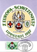 "BRD Maximumkarte ""7. Europa Schützenfest, Lippstadt"" Mi 1330 ESSt 20.8.1987 LIPPSTADT 1 - BRD"