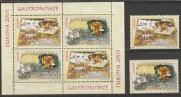 Roumanie Europa 2005 N° 4976/ 4977 Et BF N° 289 **  Gastronomie - Europa-CEPT