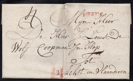 """PAYS BAS - NETHERLANDS / 1786 MARQUE POSTALE ROUGE """"BREDA"""" SUR LAC POUR AELST (ref 5073) - ...-1852 Préphilatélie"""