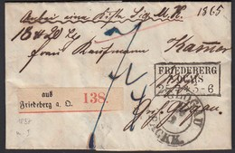 Preussen 1857 Paketbegleitbrief FRIEDEBERG A QUAIS R3 - GLOGAU PACKK.  (24529 - Francobolli