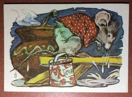 Vintage Soviet Postcard 1974 Russian Folk Tale. Huge Dressed MOUSE Crying - Burn! Cooking SALT. By Tauber - Fairy Tales, Popular Stories & Legends