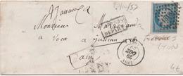20c Empire ND Type I Sur Enveloppe Du 29/10/1859 Cachets LPC 1818 + D7p + An7 + C12 Au Verso De Lyon à Paris - Marcophilie (Lettres)
