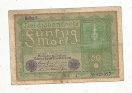 Billet ,Allemagne ,Reichsbanknote ,Berlin ,1919 ,2 Scans ,frais Fr 1.50 E - 50 Mark