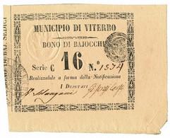 16 BAJOCCHI BONO MUNICIPIO DI VITERBO REPUBBLICA ROMANA 05/06/1849 SUP+ - Altri