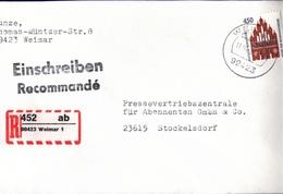 ! 1 Einschreiben 1994 Mit Selbstklebenden R-Zettel  Aus 99423 Weimar, Thüringen - Briefe U. Dokumente