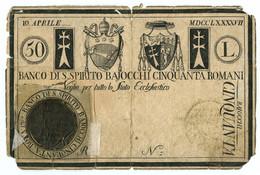 50 BAJOCCHI NON EMESSO PROGETTO VAGLIA BANCO DI SANTO SPIRITO 10/04/1797 MB+ - Italia