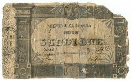 2 SCUDI BONO REPUBBLICA ROMANA STATO PONTIFICIO 18/04/1849 MB - Italia