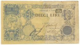 10 LIRE BANCA DELLO STATO PONTIFICIO 1868 MB - Italia