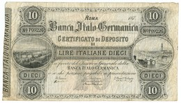 10 LIRE CERTIFICATO DI DEPOSITO BANCA ITALO-GERMANICA 187_ QBB - Altri