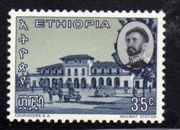 ETHIOPIA ETIOPIA ETHIOPIE 1965 RAILROAD STATION RAILWAY CENT. 35c MNH - Etiopia