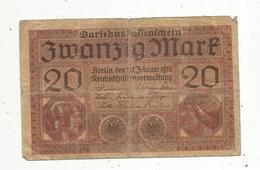 Billet ,Allemagne , 20 Mark,Berlin 1918 , 2 Scans - [ 2] 1871-1918 : Empire Allemand