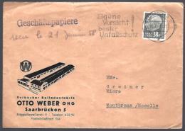 LETTRE EN PROVENANCE DE SAARBRÜCKEN - 1958 - ROLLADENFABRIK - - BRD