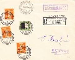 1922 R-Brief Conference Pour La Paix En Orient, Lausanne Nach Buttes - Suisse