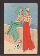 Illustrateur / Marcel Bloch / Chien Avec Femmes Mode Art Déco / éd A.L.C. - Künstlerkarten