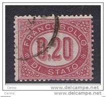 REGNO  VARIETA':  1875  SERVIZIO  -  £. 0,20  LACCA  US. -  FILIGRANA  CAPOVOLTA  DX. -  C.E.I. 3 A - Dienstpost