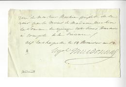 Étienne Macdonald (1765 - 1840) LAS (reçu) 1804 MARECHAL EMPIRE NAPOLEON AUTOGRAPHE AUTOGRAPH /FREE SHIP. R - Autogramme & Autographen
