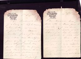 2 Lettres Du Chateau Aisne De Septmonts 1882 - 1800 – 1899