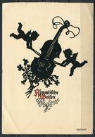 """CPSM Signierte Color Künstlerkarte Silhouette German Empires Berlin 1942 """"Georg Plischke-HIMMLICHE WEISEN"""" 1 Karte Used - Silhouetkaarten"""
