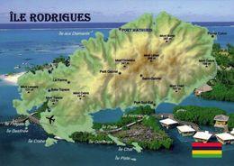 1 Map Of Mauritius * 1 Ansichtskarte Mit Der Landkarte Von Der Insel Rodrigues - Diese Insel Gehört Zu Mauritus * - Landkarten