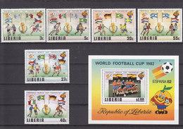 LIBERIA - 1981 - **/MNH - FOOTBALL - SOCCER ESPAÑA 82 - Mi 1187/92 + Bl. 96 - Liberia