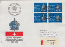 Lettre Recommandée :  Congrès International D'Interpol Mai 1973 à Montreux - EU-Organe