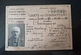 CARTE DU COMBATTANT OFFICE NATIONAL MUTILES COMBATTANTS VICTIME DE GUERRE NORD 59 1938 MILITARIA WAR WW MILITAIRE - Documents