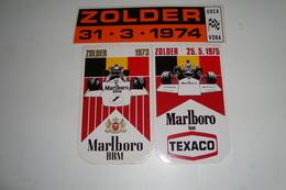 3 Stickers Marlboro, Texaco  Zolder 1973,1974,1975 - Automobile - F1