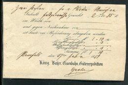 """Bayern / 1857 / Frachtbeleg """"Koenig. Bayer. Eisenbahn-Gueterexpedition (20267) - Bavaria"""