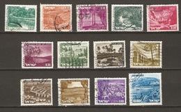 Israel - 1971/75 - Paysages - Petit Lot De 13 Timbres° - Elat - Negev - Haifa - Coral Island - Nazerat - Aqueduc - Rosh - Vrac (max 999 Timbres)