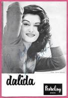 Document Publicitaire Barclay Disque Dalida Dédicacé (pour Michel) Format Proche Carte Grand Format - Cantanti E Musicisti