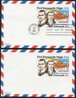 1981 USA First Transatlantic Flight Stationery Postcard Mint + First Day. Japan - Wenatchee Washington - Air Mail