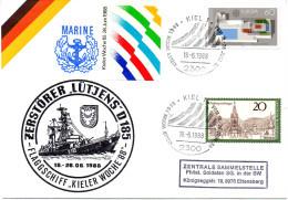 "(ZL) BRD Cachetumschlag Bundeswehr Marine ""Zerstörer LÜTJENS D-185-Flaggschiff Kieler Woche '88"" SSt 18.6.1988 KIEL 1 - [7] Repubblica Federale"