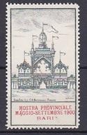 Timbre Erinnophilie  MOSTRA PROVINCIALE MAGGIO SETTEMBRE 1900 BARI - Commemorative Labels