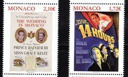 MONACO, 2019, MNH, CINEMA, FILMS OF GRACE KELLY, THE WEDDING IN MONACO, 14 HOURS,2v - Cinéma